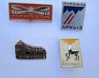 Vintage USSR Soviet Russia Pin Badge City Norilsk, Macesta, Vladimir