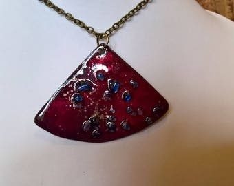 purple red enameled copper with inlaid blue crystals and gold pendant necklace