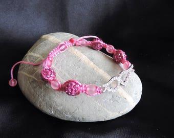 Bracelet with hot pink rhinestones silver angel wing