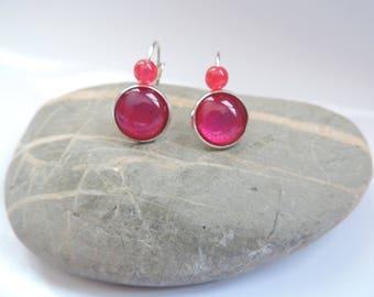 Earrings cabochon ღ varnish Fuchsia glitter with Pearl