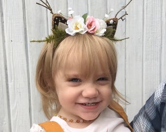 Cream and Pink Floral Deer/Fawn Ears Headband