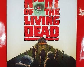 SALE 1990's Night Of The Living Dead Movie Poster / Antique Zombie Movie Advert Poster 90s Pop Culture Collectible Movie Poster
