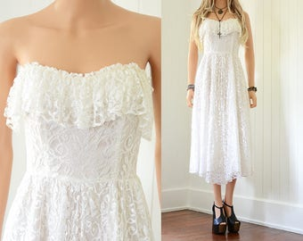 Boho Lace Dress White Lace Wedding Dress Lace Dress Bohemian Wedding Dress Boho Wedding Dress Vintage Strapless Dress Wedding Boho Lace XS
