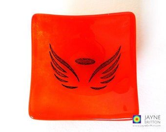 Glass angel bowl, symbol of love, red and orange glass dish, tea light candle holder, gift mom, angelic gift, earring dish, tealight