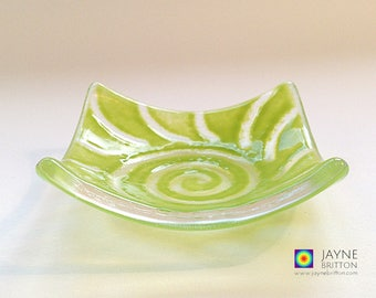 Glass radiating spiral design bowl, green glass dish, tea light candle holder, gift, original artwork, unique, trinket dish, tealight holder
