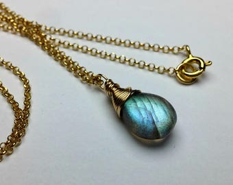 Labradorite Necklace, 18K Gold Chain, Inspirational Jewelry, Handmade Gemstone Necklace, Gift For Women, Gift for mom, Gift for wife