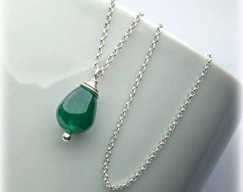Jade Necklace, Sterling Silver, Rose Gold, Simple Necklace, Everyday Necklace, Green Jade Pendant, Bridesmaid Necklace, Gift Mother Necklace