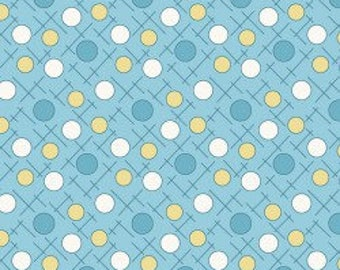 Maywood Studios - Crosshatch Dots in Blue and Yellow - Berries and Blossoms (8841-Q) - Reproduction