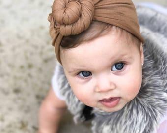 Dark tan, baby turban, knot turban, baby hat