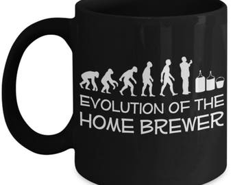 Funny Home Brew Mugs - Evolution Of The Home Brewer - Ideal Home Brewer Gifts