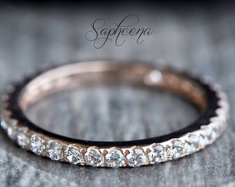 Rose Gold Full Eternity Wedding Band in Solid 14k Rose Gold, Engagement Ring, Wedding Ring, Bridal Band, Stacking Ring,Gold Band by Sapheena