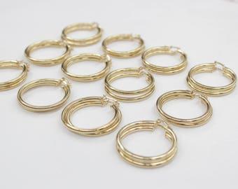 12 Pair 3x30 GOLD hoop earnings for beading, earrings for jewelry making, gold earrings for beading,