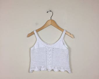 Vintage Crochet Cropped Tank Size Small, Knit Tank Small, Cropped Tank