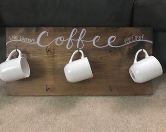 Hanging Coffee Mug Sign, Coffee Mug Storage, Coffee Bar Sign, Hanging Mug  Holder