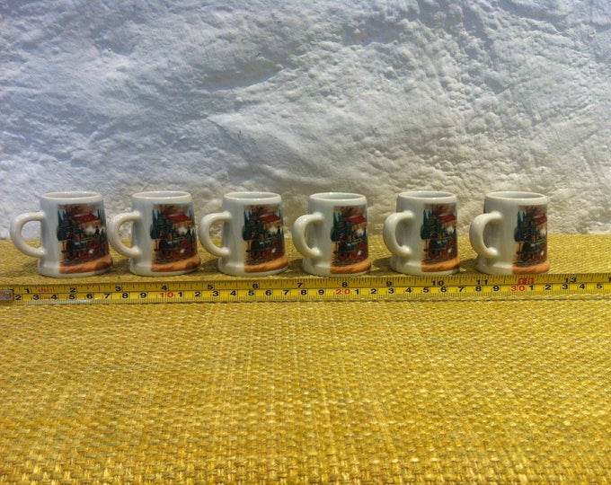 Vintage beer mug, mugs 6 pieces dollhouse decoration miniatures
