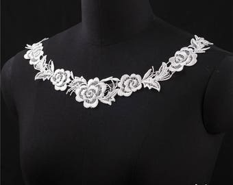 2 PCs White Embroidery Hollow Flower Lace Applique DIY Collar   Appliques Patch   Clothing Accessories, WL569