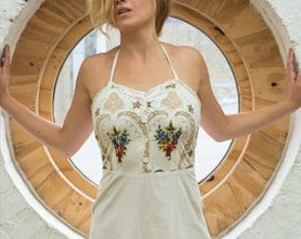 Handmade French Vintage Embroidered Summer Midi Dress