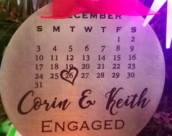 Engagement or Special Date Ornament - Laser Etched Aluminum - with Ribbon - Custom