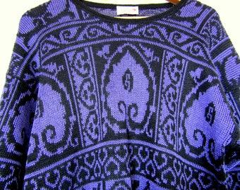 Vintage 1980's black and purple Next jumper M/L