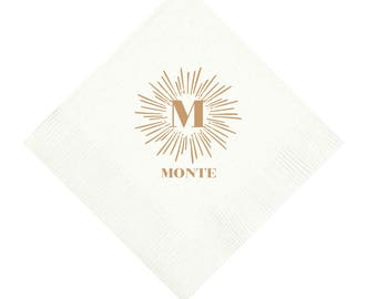 Personalized Napkins, Monogrammed, Custom, Paper, Cocktail, Beverage, Christmas, Wreath