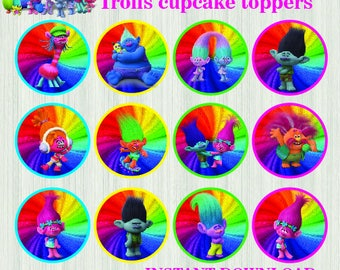 trolls cupcake | trolls birthday | trolls printable | poppy troll | trolls tags | troll cupcake topper | trolls party decor | trolls label