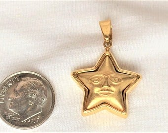 "Estate 18k Yellow Gold Pendant Star Face Puffy 3.3g Estate 3D Statement for Necklace 1-1/4"" Long Marked 18 k kt 18kt Vintage 750 Celestial"