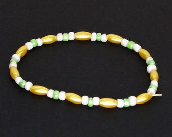 Yellow Green and White Elastic Beaded Bracelet