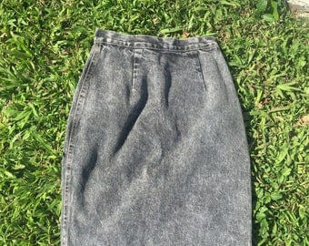 Vintage Grey Denim Pencil Skirt