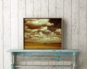 "Landscape Print, Landscape Photography, fine art photography, instant download, modern wall decor, dreamy decor, printable art ""Clouded Day"""
