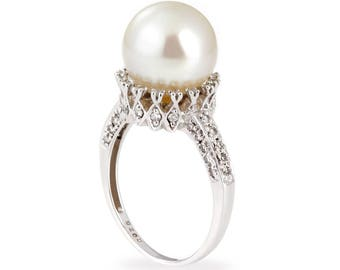 14k white gold diamond pearl ring