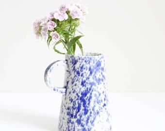 blue spotty jug, pot, vase, medium, shiny, handmade, wheel thrown, stoneware, ceramic, glazed