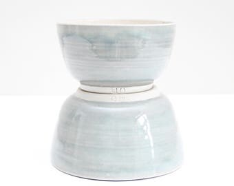 two opal grey bowls, small & medium, shiny, handmade, ceramic, pottery, stoneware, wheel thrown, glazed