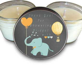Baby Shower Favors Shower You with Love Theme Set of  6 - 4 oz Soy Candle Favors
