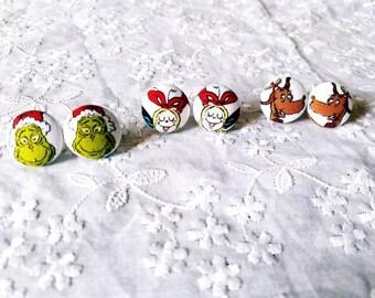 Grinch Earrings/Christmas Earrings/Grinch Jewelry/Christmas Jewelry/Grinch/Fabric Earring/Button Earring/Dr. Seuss/Stocking Stuffers