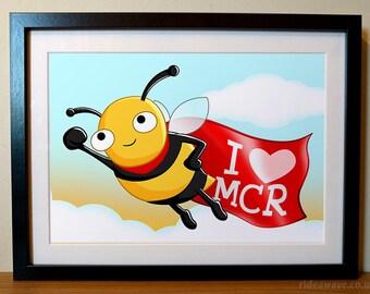 Manchester Bee Print, I love Manchester, I love MCR, Manchester Bee, Manchester bee gift, Manchester bee illustration print,
