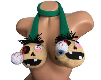 Halloween Zombie Scarf, Crochet Zombie Scarf, Frankensteins, Frankenstein costume, Monster Scarf Skinny muffler halloween scarf green skinny