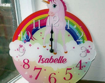 Unicorn Clock, Cute Fairy Tale Wall Clock, Personalised Girls Bedroom Wall Clock, Really Pretty addition to any girls bedroom.