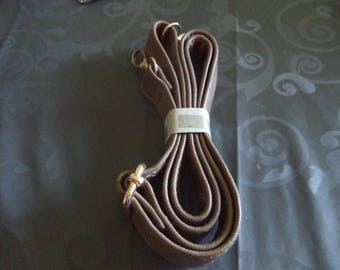 bag handle with snap Brown faux leather handbag