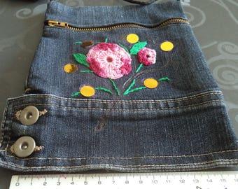 shoulder bag denim with a new hand embroidered flower