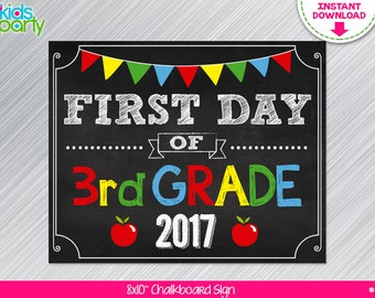 INSTANT DOWNLOAD First Day of 3rd grade School Sign Print Yourself, First Day of Third Grade Chalkboard Sign Digital File