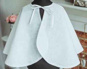 Natural linen Christening cape, Christening mantle, White Baptism slicker Baby Christening pelerine Baby Chistening outfit, Pelerine bapteme