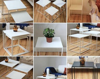 Side Table , Small Coffee Table , Table , - Bedside table - End table , - Thin4 Cube Series