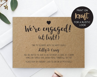 Printable Engagement Party Invitation   Engaged   Invite   Rustic   PDF   Download   Custom   Lilly suite #027