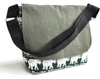 Canvas shoulder bag  green elephant , messenger bag  school back, shoulder bag ,cross body back, canvas shopping bag