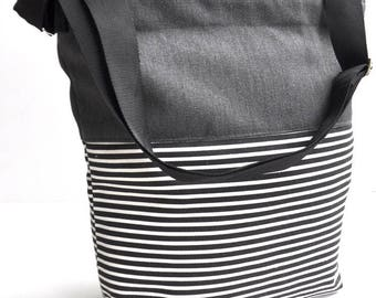 Canvas shoulder bag  gray stripe , messenger bag  school back, shoulder bag ,cross body back, canvas shopping bag