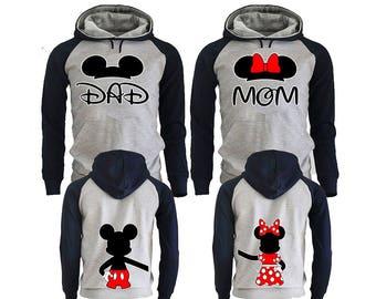 Mickey Minnie Mom Dad Family Couple Hoodies, Disney Couple Hoodies, Pärchen Pullover Couple Hoodies Mickey, Couple Hoodies King And Queen