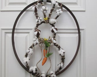 Spring bunny cotton wreath.