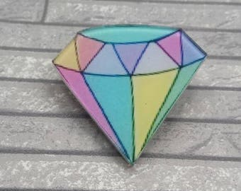 Rainbow Diamond pinback button/badge