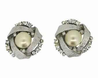 ART 1960s Faux Pearl and Rhinestone Vintage Earrings