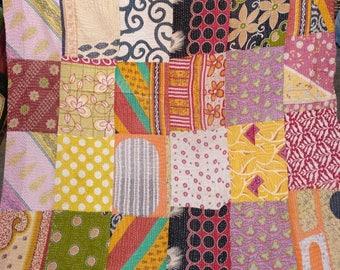 Vintage patchwork Reversible Kantha Quilt, ethnic indian Bedding, Bohemian Gudari, Kantha curtain, Boho Durrey